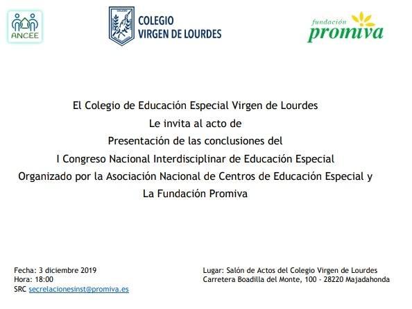 Invitación a presentación de las conclusiones de congreso de educación especial